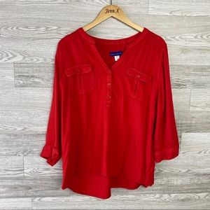 Simply Styled Red Recycle Bottle Material Blouse